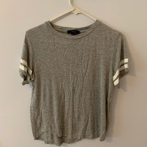Forever21 Gray Crop Top with white stripes